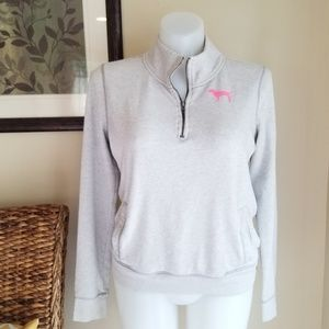 PINK Victoria's Secret Half Zip Grey Pullover